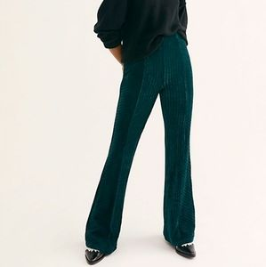 EUC Freepeople Green Velvet Flare Pants